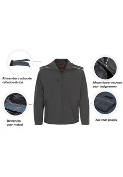 Softshell jas van het merk Canson met opstaande kraag van functionele kwaliteit, de jas is zowel ademend als wind- en waterafstotend tot wel 5000 mm. De jas heeft afritsbare mouwen waardoor de jas kan worden omgevormd tot een bodywarmer. De onderkant van de jas is verstelbaar en er zijn reflectie details op voorkant en achterkant. De reflectie details op de schouder kunnen eraf gehaald worden. De jas heeft 2 met rits afsluitbare zakken aan de voorkant en 2 borstzakjes, een met rits afsluitbaar de ander met klittenband afsluitbaar. Ook heeft de jas 2 binnenzakken die met rits afsluitbaar zijn en een telefoonzakje afsluitbaar met klittenband.