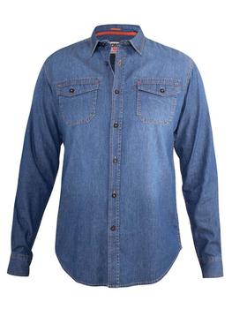 """overhemd """"Scotsdale"""" van merk D555 in de kleur vintage denim, gemaakt van 100% katoen."""