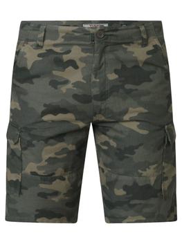 """Cargo short """"Camaro"""" van merk D555 met camouflage print, gemaakt van organic cotton."""
