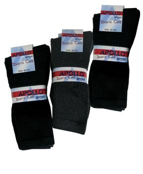 Apollo Sports Davis Cup Sokken 12 paar (3 bundels).   De sokken zijn handgeketteld waardoor er geen voelbare naad op de teen is. Sport sokken van het bekende merk Apollo. U ontvangt 12 paar sokken met 4 verschillende kleuren, namelijk: Blauw, Navy, Zwart en Grijs.
