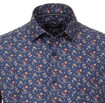 Casual overhemd met mooi print van merk Casa Moda in de kleur leisure blue, gemaakt van 100% katoen.