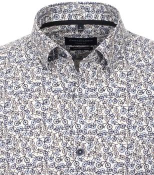 overhemd met fietsprint van merk CASA MODA in de kleur lichtblauw, gemaakt van 100% katoen. Dit casual overhemd heeft een nonchalante snit en onderscheidt zich doordat het gemaakt is van puur katoen. De moderne print zet modieuze accenten en is perfect te integreren in elke casual look. Combineer hem comfortabel met jeans of chino's en begin de dag modieus.