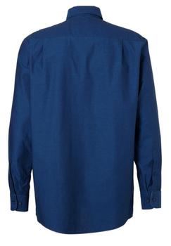 Blauw overhemd van Casa Moda met button down kraag, met knoop open zakje op de linker borst, contrasterende stof aan de kraag en manchetten met dubbele knoopsluiting aan de manchetten.  Het overhemd is rond afgezoomd.