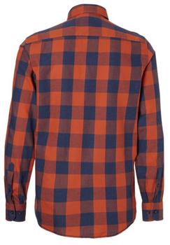 Geblokt overhemd van Casa Moda met button down kraag, met knoop afsluitbaar zakje op de linker borst, contrasterende stof aan de kraag en manchetten met dubbele knoopsluiting aan de manchetten.  Het overhemd is rond afgezoomd.