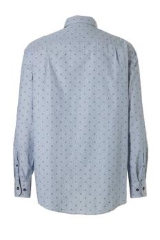 Overhemd met lange mouwen van Casa Moda met linkerborstzakje, contrastkleur stof in de boorden en een button down kraag. Lichtblauw met een fijn streepje en klein printje.
