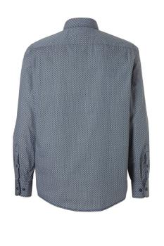 """Overhemd met lange mouwen van Casa Moda met linker borstzakje, contrastkleur stof in de boorden en """"widespread"""" boord.Blauw met een mooie print."""