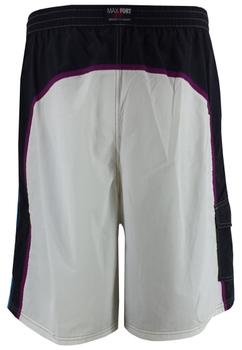 Kleurrijke zwemshort voorzien van een touwtje in de elastische tailleband, een met klittenband afsluitbare zak op het rechter been en een embleem aan de zoom van de linker pijp. Het zwemshort is voorzien van een binnenslip van net-materiaal.