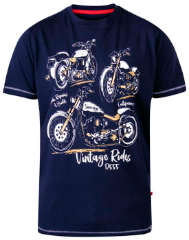 """T-Shirt """"Ellis"""" van merk D555 in de kleur navy, gemaakt van organic cotton."""