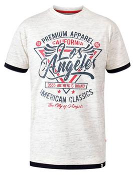 """T-Shirt """"Ellwood"""" van merk D555 in de kleur off white reno, gemaakt van organice cotton / polyester."""