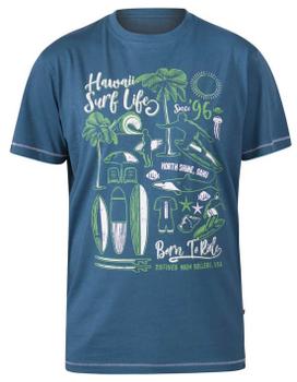 """T-shirt """"Fernsby"""" van merk D555 in de kleur teal, gemaakt van organic cotton."""
