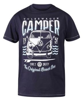"""T-shirt """"Gorton"""" van merk D555 in de kleur navy, gemaakt van organic cotton. Official Licensed VW Product Campervan Printed T-Shirt"""