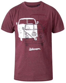 "T-shirt ""Hughes"" van merk D555 in de kleur red marl, gemaakt van organic cotton.