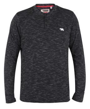 longsleeve shirt van merk D555 in de kleur black slub, gemaakt van poly-cotton.
