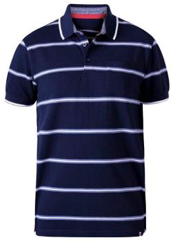 """Polo shirt """"Montego"""" van merk D555 in de kleur navy stripe, gemaakt van organic cotton."""