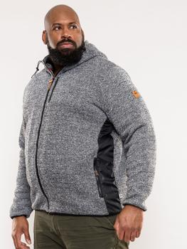 """Hoody """"Ozark"""" van merk D555 in de kleur grey marl, gemaakt van polyester, met een dikke teddy-voering."""