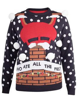 """""""foute"""" kersttrui van merk D555 in de kleur charcoal, gemaakt van acryl. Met deze kersttrui kan je kerstviering niet meer stuk. Heb je altijd al een """"bolletjes trui"""" willen dragen, dan is dit je kans! Er hangen zes """"grote sneeuwvlokken""""aan de trui. Afbeelding van de kerstman op z'n kop in de schoorsteen, met de tekst """"Who ate all the pies"""" Echt supercool!"""