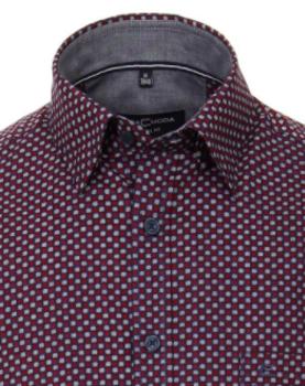 casual overhemd met print van merk Casa Moda in de kleur rood, gemaakt van 100% katoen.