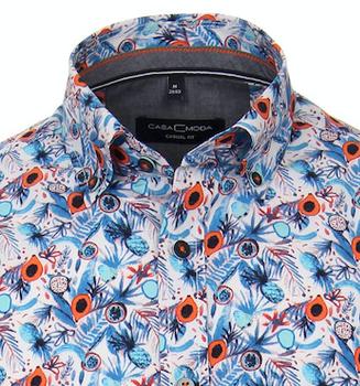 Casual overhemd met print van merk Casa Moda in de kleur oranje, gemaakt van 100 % katoen.