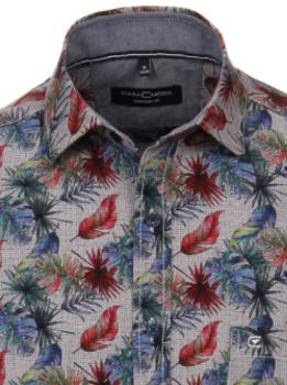 casual overhemd met print van merk Casa Moda in de kleur antraciet, gemaakt van 100% katoen.