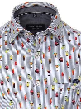 Kent casual shirt van merk Casa Moda met waanzinnig leuke print, oranje streep met printjes, gemaakt van 100% katoen.