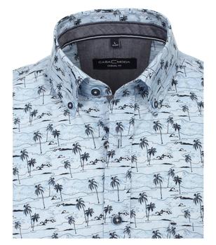 """Overhemd 'palm"""" van merk CASA MODA in de kleur blauw, gemaakt van 100% katoen. Dankzij de nonchalante snit en de zuivere katoenen stof maakt dit modieuze vrijetijdsshirt indruk met zijn comfortabele draageigenschappen. De palmprint is een echte blikvanger die elke outfit in de schijnwerpers zet. Met dit shirt heb je een echte eye catcher."""