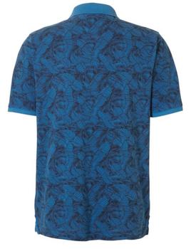 Pique poloshirt van Casa Moda met een geprint blad motief en een contrasterende kleur aan de kraag en mouwen en een contrasterende stof achter de 3-knooplijst. Het poloshirt is voorzien van mooi afgewerkte zij-splitten voor een optimaal draagcomfort.