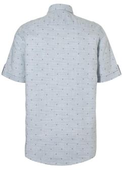 Sportief gestreept overhemd met anker motief van Casa Moda. Borstzakje met knoopsluiting, geruite stof aan de binnenkant van de kraag.Het overhemd is rond afgezoomd.