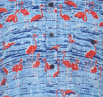 Casa Moda overhemd met korte mouwen en borstzakje op de linker borst. Fraaie flamingo print.