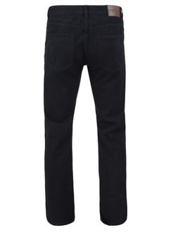 Zwarte basic jeans met rechte pijpen, een rits-knoopsluiting, 2 steekzakken voor waarvan 1 met een muntzakje en 2 achterzakken met zwarte stiksel.  Beenlengte: 34 Inch
