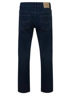 Indigo basic jeans met rechte pijpen, een rits-knoopsluiting, 2 steekzakken voor waarvan 1 met een muntzakje en 2 achterzakken me contrasterende stiksel.  Beenlengte: 34 Inch
