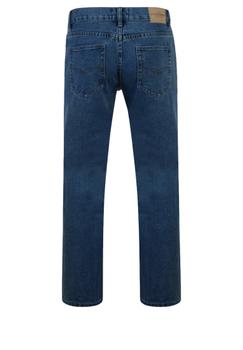 Stonewash basic jeans met rechte pijpen, een rits-knoopsluiting, 2 steekzakken voor waarvan 1 met een muntzakje en 2 achterzakken me contrasterende stiksel.  Beenlengte: 34 Inch