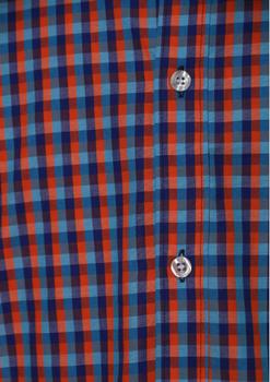 """Van de KAM JEANSWARE """"vintage serie"""" Red-blauw geblokt overhemd met korte mouwen. Hele fijne, geblokte stof. Button down kraag en borstzakje op de linkerborst. De lila contrasterende stof onder de knopenlijst en in de kraag maakt dit overhemd helemaal af. KAM overhemden vallen behoorlijk ruim, zie ook de maattabel."""