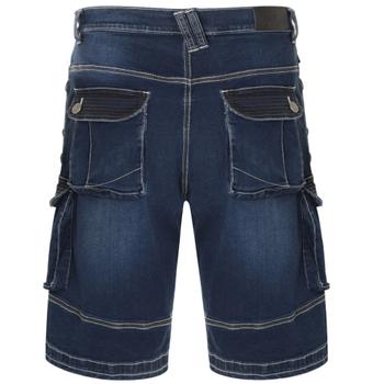 """Denim Cargo Shorts """"Ivan"""" van KAM Jeanswear, comfortabele stretch stof, afsluitbare zijzakken."""