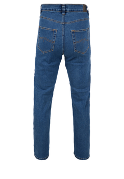 Stone-wash stretch jeans met rechte pijpen, een rits-knoopsluiting, 2 steekzakken voor waarvan 1 met een muntzakje en 2 achterzakken met contrasterend stiksel.Beenlengte: 34 Inch
