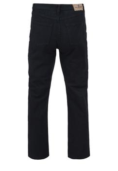 Zwarte regular fit jeans met een rits-knoopsluiting, 2 steekzakken voor waarvan 1 met een muntzakje en 2 achterzakken me contrasterende stiksel.