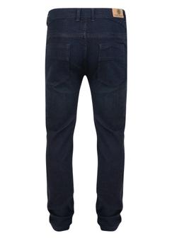 Indigo kleur stretch jeans met een rits-knoopsluiting, 2 steekzakkenvoor waarvan 1 met een muntzakje en 2 achterzakken me contrasterende stiksel.