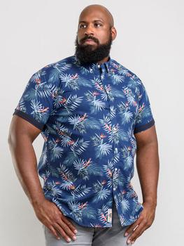 Hawaiian Leaf overhemd van merk D555 in de kleur hawaii print, gemaakt van 100% katoen.