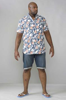 """Overhemd """"Hawaiian"""" van merk D555 in de kleur blauw, gemaakt van 100% katoen."""