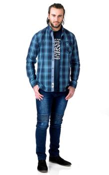 T-shirt en Overhemd combi van merk D555 in de kleur blauw, gemaakt van 100% katoen.