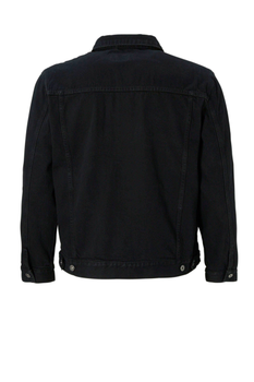 Zwarte Denim jack van DUKE LONDON. Dit spijkerjack heeft 2 open steekzakken en 2 met knoop afsluitbare borstzakjes. Erg leuke denim jas voor in het voor- en najaar. De tailleband van het jack is door middel van 4 knopen te verstellen.