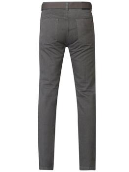"""Duke London Jeans voorzien van 2 steekzakken aan de voorkant waarvan 1 met muntzakje, 2 achterzakken, riemlussen aan de tailleband en een knoop-ritssluiting. De broek wordt geleverd met een bijpassende schuifriem.  Beenlengte: 34"""".  Van 100% katoen. Zo bestelt u de juiste maat. achter elke maat staat de taillemaat in cm's aangegeven."""