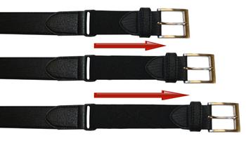 Klassieke gladde riem van D555 met een smalle stiknaad langs de zijkant van de riem. Bij de zilverkleurige vierkante gesp is de riem voorzien van een elastisch inzetstuk voor een optimaal draagcomfort. De samengestelde binnenvoering zorgt ervoor dat het een soepele riem is en de leather-look buitenlaag geeft de riem een elegante uitstraling.Breedte van de riem is 3,4 cm.