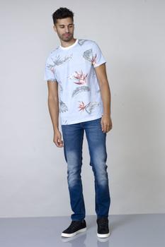 Hawaiian print T-shirt van merk D555 in de kleur blauw, gemaakt van katoen.