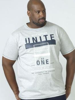 T-Shirt Unite van merk D555 in de kleur grey marl, gemaakt van 100% katoen.