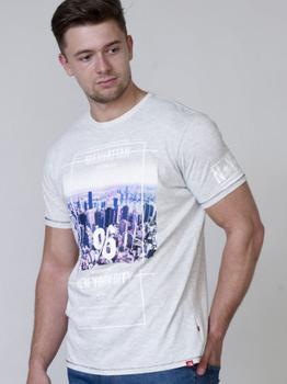 T-Shirt Manhattan van merk D555 in de kleur off white marl, gemaakt van 100% katoen.