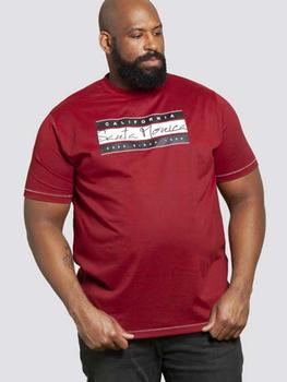 T-Shirt Santa Monica van merk D555 in de kleur red twist, gemaakt van 100% katoen.