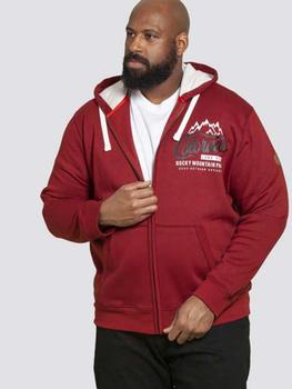Hoody met print van merk D555 in de kleur rood, gemaakt van poly-cotton. Doorlopende rits en zijzakken, capuchon met trekkoord.