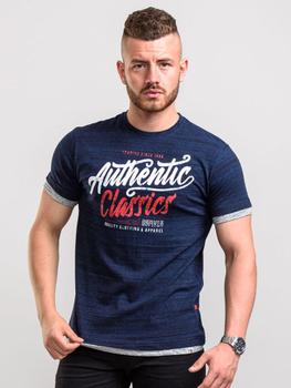 T-Shirt van D555 met opdruk Authentic Classic en afgewerkt met dubbele stof aan de mouweinden