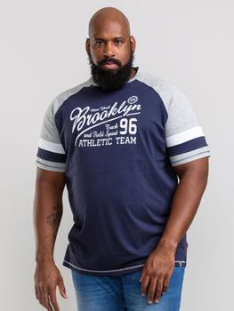 T-Shirt van D555 met Brooklyn print en contract kleur op de mouwen en schouders