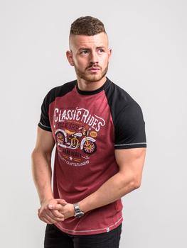T-Shirt met Classic Ride print in de kleur Burgundy Marl met een contrast kleur op mouwen en schouders.